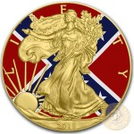 USA CONFEDERATE FLAG American Silver Eagle 2018 Walking Liberty $1 Silver coin Gold plated 1 oz
