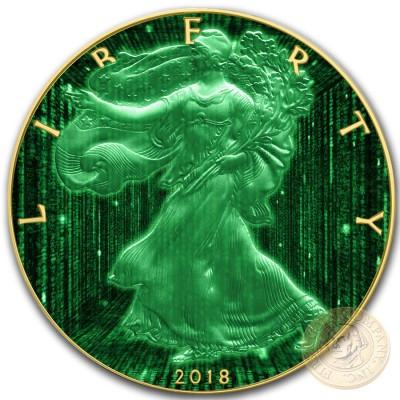 USA DIGITAL RAIN American Silver Eagle 2018 Walking Liberty $1 Silver coin Gold Plated 1 oz