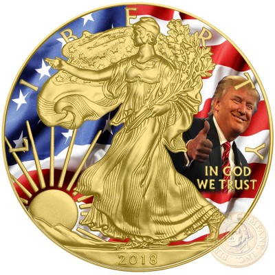 USA DONALD TRUMP 45th U.S. PRESIDENT American Silver Eagle 2018 Walking Liberty $1 Silver coin Gold plated 1 oz