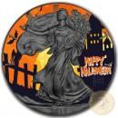 USA HALLOWEEN American Silver Eagle 2018 Walking Liberty $1 Silver coin Ruthenium plated 1 oz