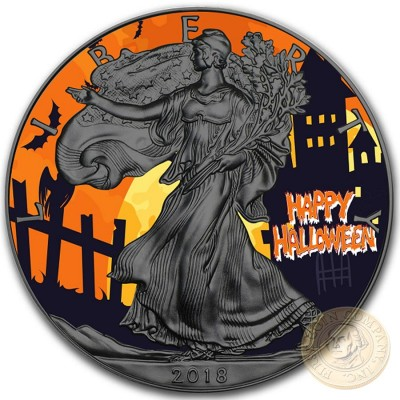 USA HALLOWEEN American Silver Eagle 2018 Walking Liberty $1 Silver coin Ruthenium plated 1 oz