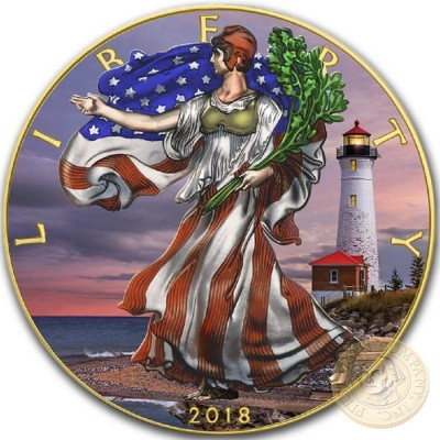 USA LIGHTHOUSES - CRISP POINT American Silver Eagle 2018 Walking Liberty $1 Silver coin Gold plated 1 oz