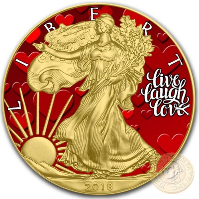 USA LIVE LOVE LAUGH EMOTIONS American Silver Eagle 2018 Walking Liberty $1 Silver coin Gold plated 1 oz