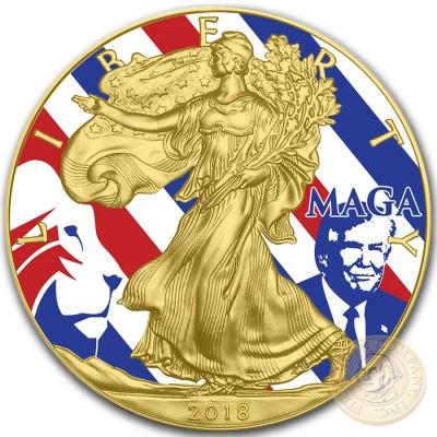 USA MAGA DONALD TRUMP American Silver Eagle 2018 Walking Liberty $1 Silver coin Gold Plated 1 oz
