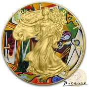USA MODERN ART PICASSO LA MUSE American Silver Eagle 2018 Walking Liberty $1 Silver coin Gold Plated 1 oz
