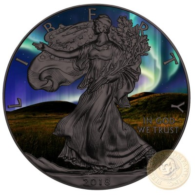 USA NORTHERN LIGHTS American Silver Eagle 2018 Walking Liberty $1 Silver coin Ruthenium plated 1 oz