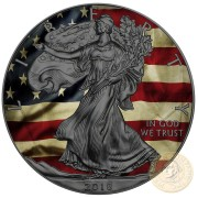 USA OLD GLORY American Silver Eagle 2018 Walking Liberty $1 Silver coin Ruthenium Plated 1 oz