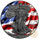 USA PATRIOTIC LIBERTY FLAG American Silver Eagle 2018 Walking Liberty $1 Silver coin Ruthenium Plated 1 oz