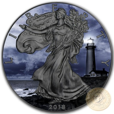 USA PIGEON POINT American Silver Eagle 2018 Walking Liberty $1 Silver coin Ruthenium Plated 1 oz