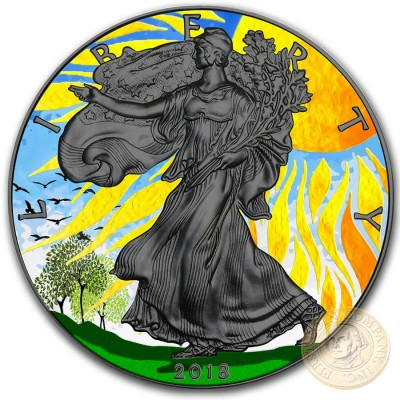USA SUMMER SOLSTICE American Silver Eagle 2018 Walking Liberty $1 Silver coin Ruthenium Plated 1 oz