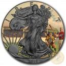 USA VINTAGE AMERICANA - BASEBALL American Silver Eagle 2018 Walking Liberty $1 Silver coin Ruthenium Plated 1 oz