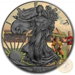 USA VINTAGE AMERICANA - BASEBALL American Silver Eagle 2018 Walking Liberty $1 Silver coin Ruthenium Plated 1 oz