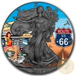 USA VINTAGE AMERICANA - ROUTE 66 American Silver Eagle 2018 Walking Liberty $1 Silver coin Ruthenium Plated 1 oz