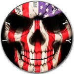 USA AMERICAN FLAG SKULL American Silver Eagle 2018 Walking Liberty $1 Silver coin Ruthenium plated 1 oz