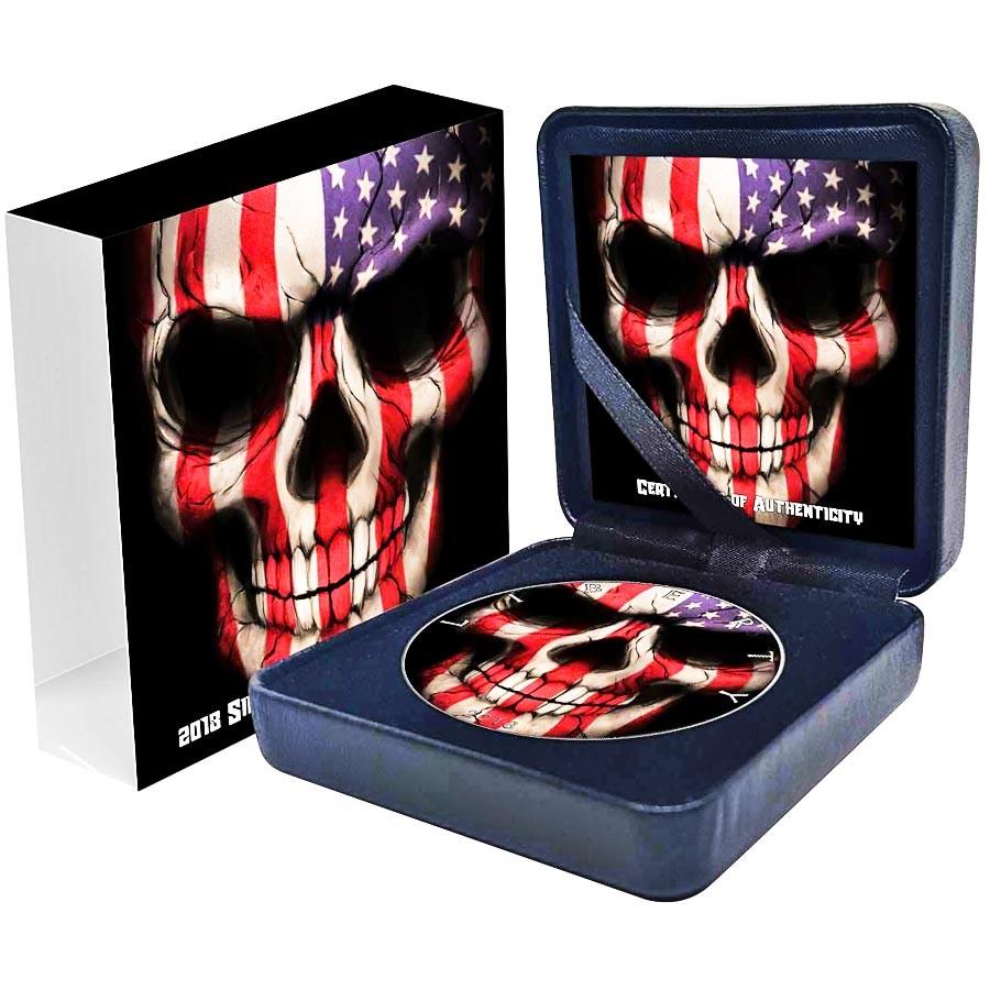 USA AMERICAN FLAG SKULL American Silver Eagle 2018 Walking Liberty $1 Silver coin Ruthenium plated 1 oz