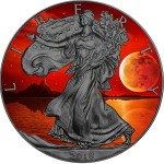 USA BLOOD MOON American Silver Eagle 2018 Walking Liberty $1 Silver coin Ruthenium plated 1 oz