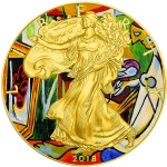 USA PABLO PICASSO LA MUSE - MODERN ART American Silver Eagle 2018 Walking Liberty $1 Silver coin Gold Plated 1 oz