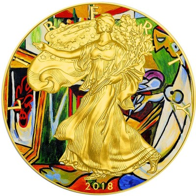 USA PABLO PICASSO - LA MUSE - MODERN ART American Silver Eagle 2018 Walking Liberty $1 Silver coin Gold Plated 1 oz