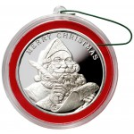 2015 MERRY CHRISTMAS SANTA CLAUS SEASON'S GREETINGS 999 Fine Silver Round Red Frame 1 oz