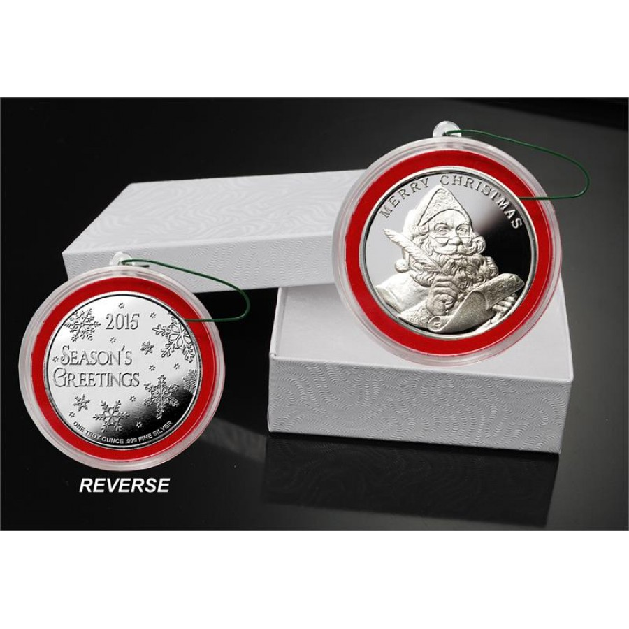 2015 MERRY CHRISTMAS SANTA CLAUS SEASON'S GREETINGS 999 Fine Silver Round Red Frame 1 oz