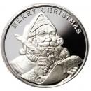 2015 MERRY CHRISTMAS SANTA CLAUS SEASON'S GREETINGS 999 Fine Silver Round 1 oz