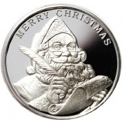 2015 MERRY CHRISTMAS SANTA CLAUS SEASON'S GREETINGS 999 Fine Silver Round 1 oz