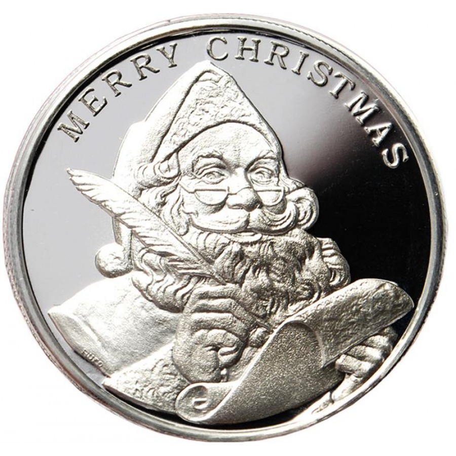 2015 merry christmas santa claus season 39 s greetings 999 fine silver round 1 oz. Black Bedroom Furniture Sets. Home Design Ideas