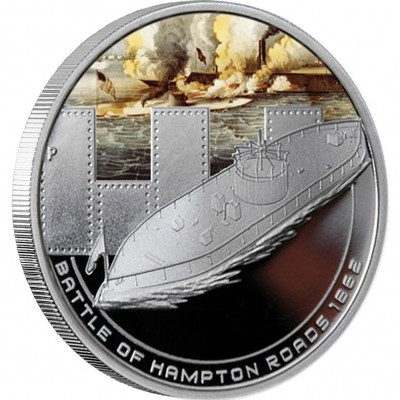 Australia BATTLE OF HAMPTON ROADS Series FAMOUS NAVAL BATTLES Silver Coin $1 Proof 2010