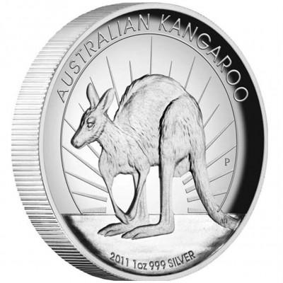 Australia series AUSTRALIAN KANGAROO High Relief  $1 Silver Coin 2011 Proof