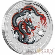 Australia BLACK DRAGON Lunar II series $1 Colored Silver coin 2012 BU 1 oz