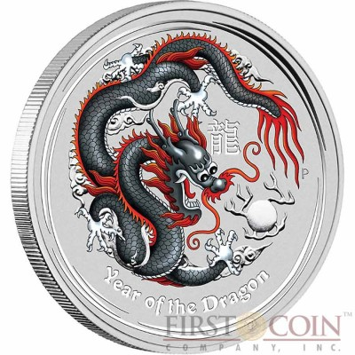 Australia BLACK DRAGON Lunar II series $1 Colored Silver coin 2012 BU 1 oz