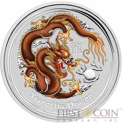 Australia BROWN DRAGON Lunar II series $1 Colored Silver coin 2012 BU 1 oz