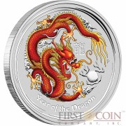 Australia RED DRAGON Lunar II series $1 Colored Silver coin 2012 BU 1 oz