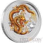 Australia GOLD DRAGON Lunar II series $1 Colored Silver coin 2012 BU 1 oz