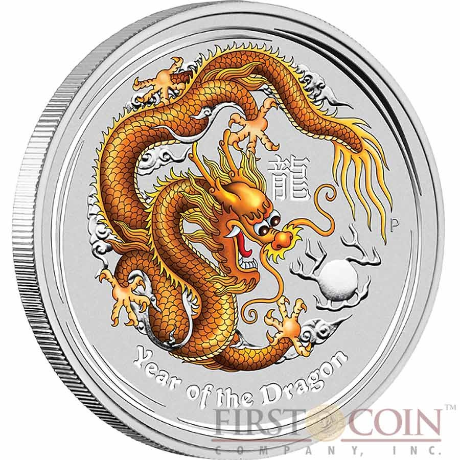 2012 Cook Islands Lunar Year of the Dragon Yellow 1Oz Silver Proof Color Coin $5