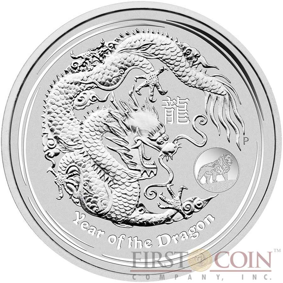 Niue 2012 $2 Oval Lunar Year of the Dragon 1 Oz Colored Silver Proof Coin
