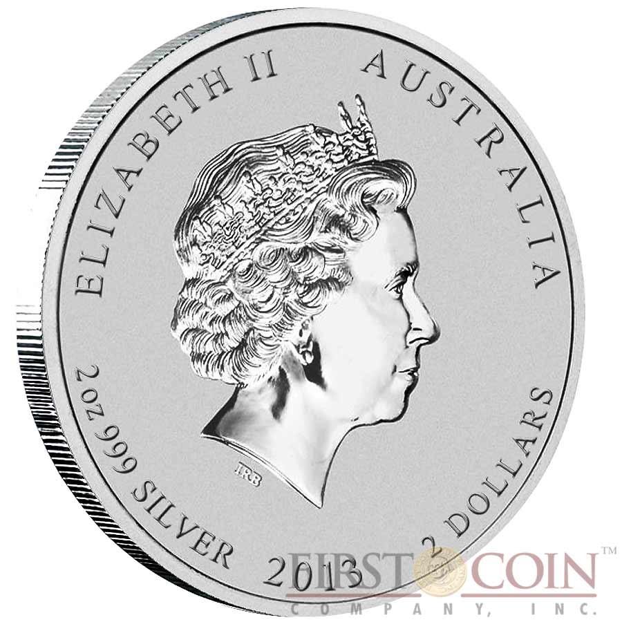 Australia SNAKE Lunar II series $2 Silver coin 2013 BU 2 oz