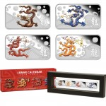 Australia YEAR OF THE DRAGON Series LUNAR CALENDAR $4 Four Silver Rectangle Coin Set 2012 Proof 4 oz