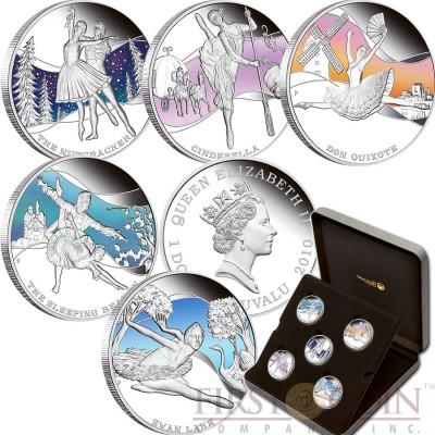 Tuvalu FAMOUS BALLETS $5 Five Silver Colored Coins Set 2010 Proof 5 oz