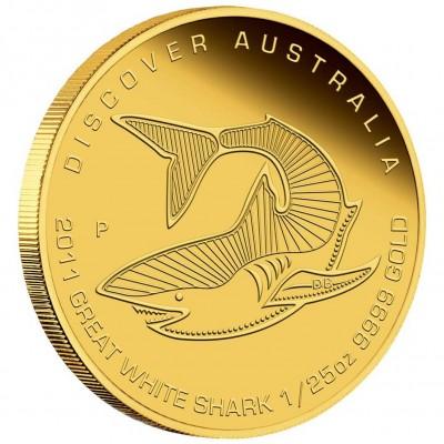 Australia GREAT WHITE SHARK Series DREAMING DISCOVER AUSTRALIA $5 Gold Coin 2011 Proof 1/25 oz