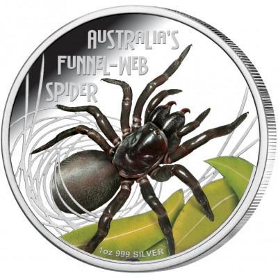 Tuvalu AUSTRALIAN FUNNEL-WEB SPIDER $1 Silver Coin 2012 Proof 1 oz
