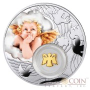 Niue Angel LUCKY COINS Silver Coin Symbols of Luck Series $1 Colored 2014 Proof with Silver Gold-plated Filigree Insert