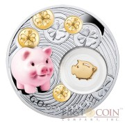 Niue Piggy LUCKY COINS Silver Coin Symbols of Luck Series $1 Colored 2014 Proof with Silver Gold-plated Filigree Insert
