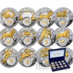 "Belarus ""Zodiac Signs"" 12 Coin Set Silver 240 Rubles Gilded with elements 2013 Proof ~11 oz"