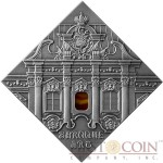 "Niue Baroque Art of ""The Art that Changed the World"" series $1 Silver Coin 2014 Square Shape with Agate Insert Antique Finish"