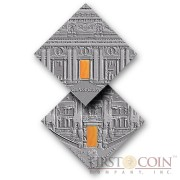 "Niue Classicism Art of ""The Art that Changed the World"" series $1 Silver Coin 2014 Square Shape with Agate Insert Antique Finish"