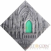 "Niue Gothic Art of ""The Art that Changed the World"" series $1 Silver Coin 2014 Square Shape with Agate Insert Antique Finish"