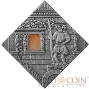 "Niue Mannerism Art of ""The Art that Changed the World"" series $1 Silver Coin 2014 Square Shape with Agate Insert Antique Finish"