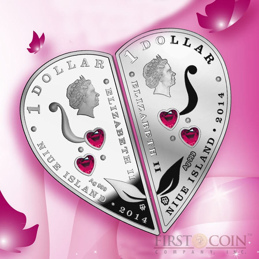 Niue Always with You Lovely two coin $2 Heart shape Set 2014 Proof Silver 1 oz