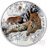 Niue Island AMUR LEOPARD Silver Coin SOS to the World - Endangered Animal Species series $1 Colored 2014 Proof with Swarovski Elements